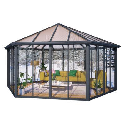 GARDA zárt kerti pavilon/ télikert  szürke/ bronz 16mm tetőpanel/ 4mm akryl átlátszó oldalfal, zárható ajtók