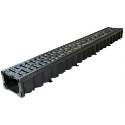 ACO HEXALINE 2.0 folyóka fekete műanyag  ráccsal, Microgrip felülettel 1m